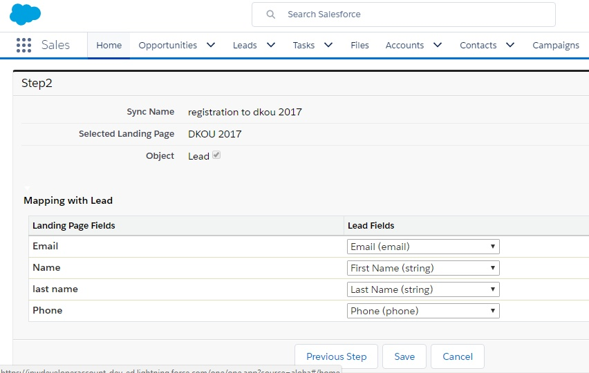 mapping landing pages fields to salesforce fields