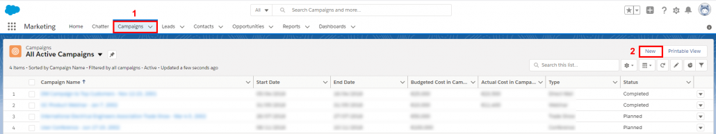 Create new Salesforce campaign