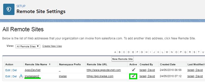 Salesforce Remote Site Settings