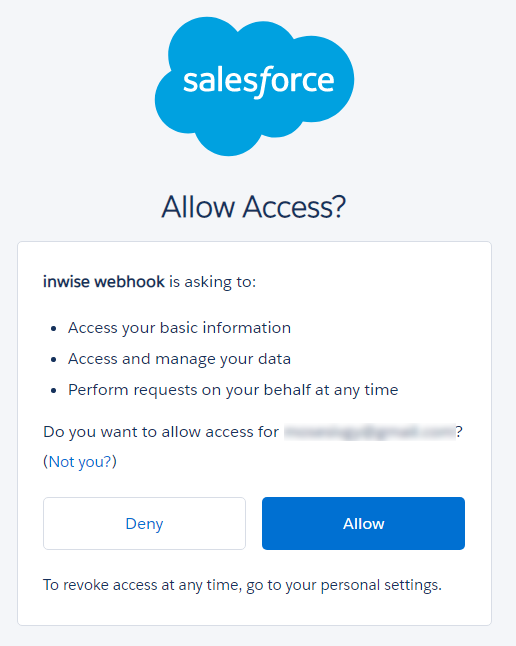 Salesforce - Allow Access