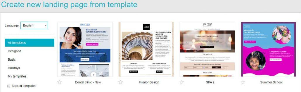 Choose template - landing page