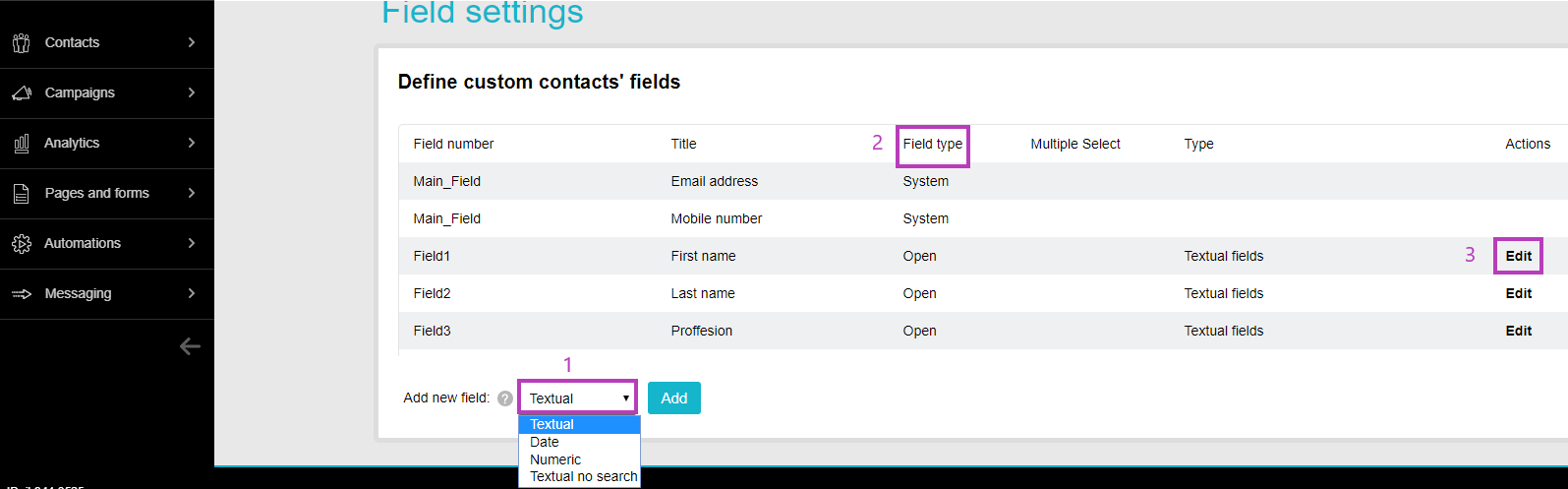 Define contacts field