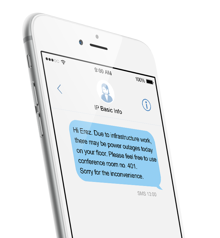 Internal communication by SMS